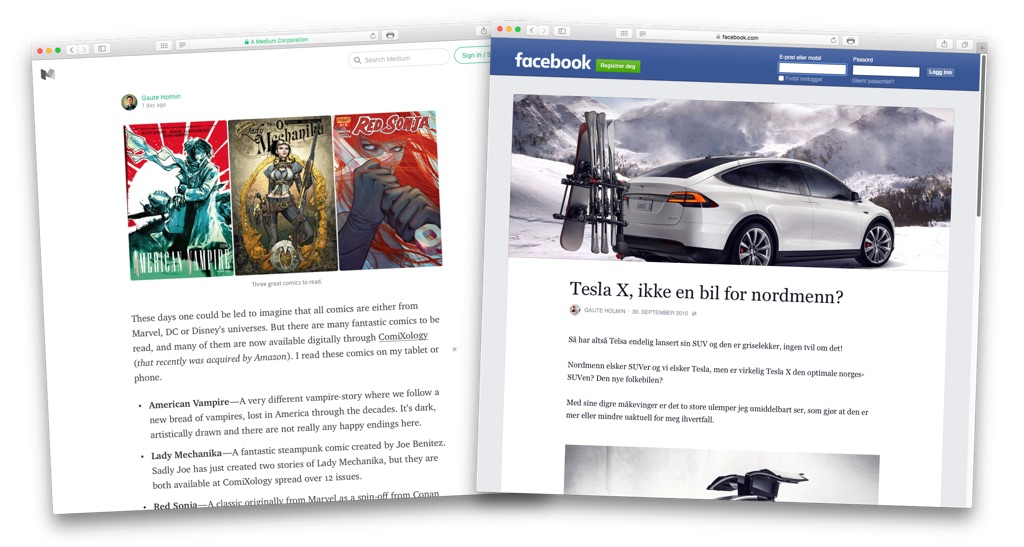 Medium blog versus Facebook Notes