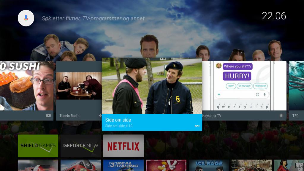 Android TV grensesnitt