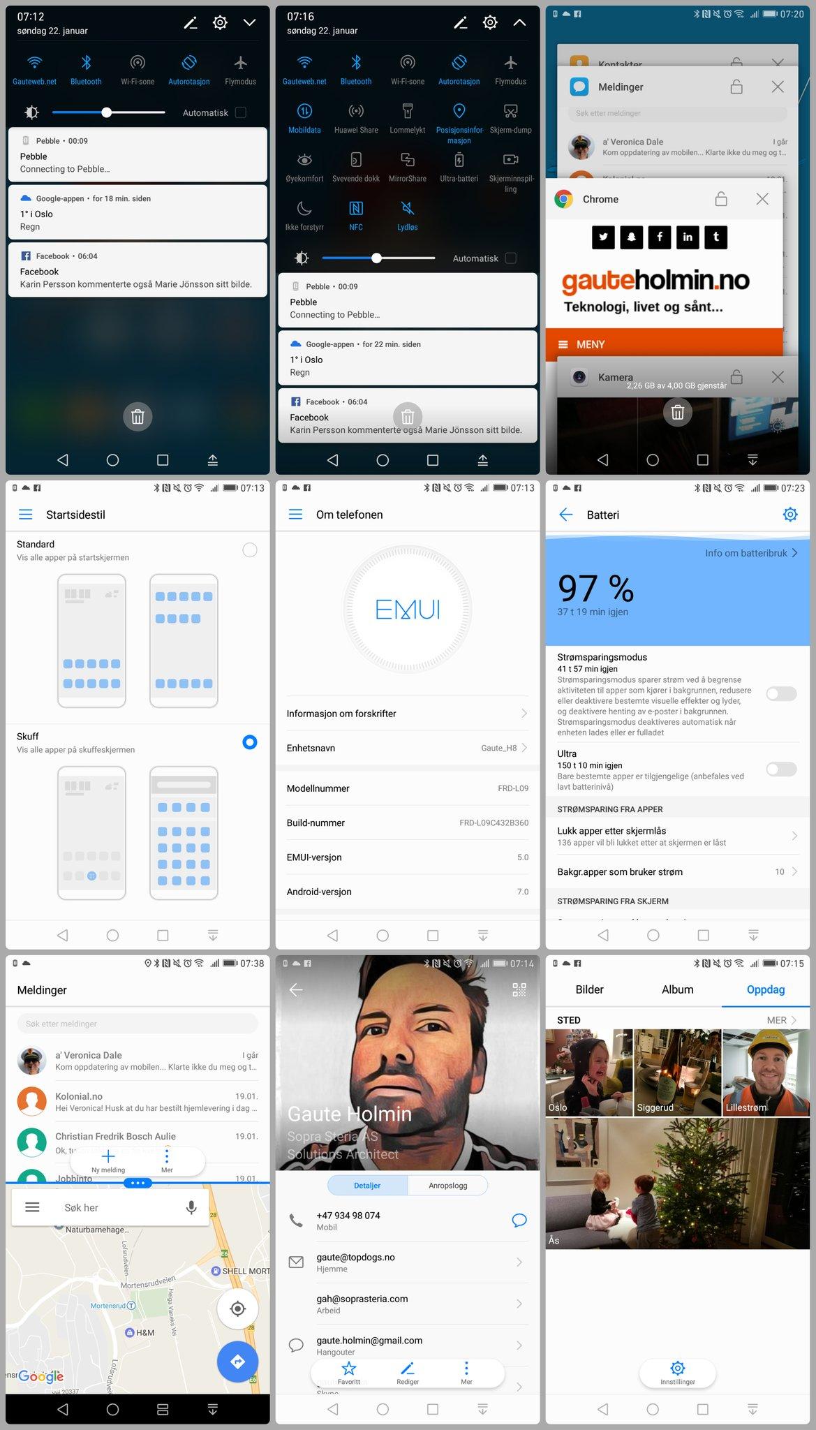Skjermbilder av Android 7.0 på Honor 8