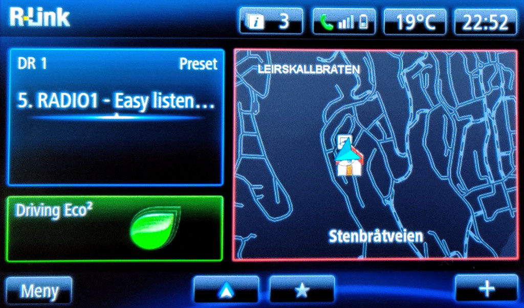 R-link Home med Android Auto aktivert.