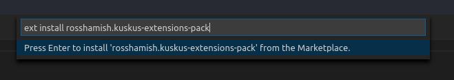 Kuskus installasjon i Visual Studio Code