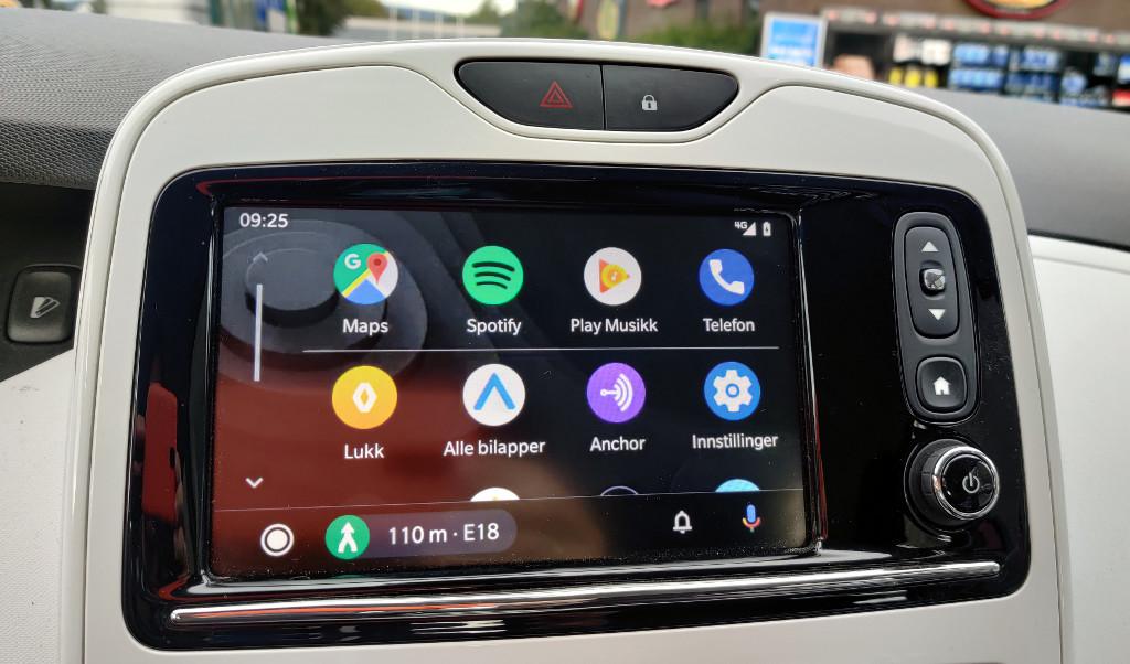 Android Auto hovedmeny