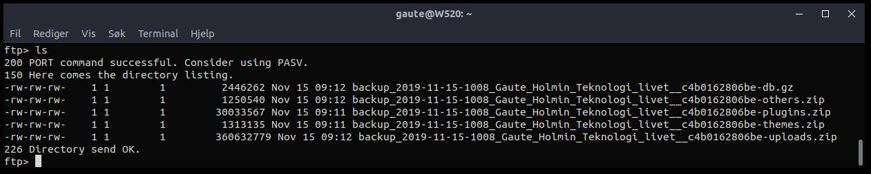 Backupen ligger i fem komprimerte filer på min FTP server.