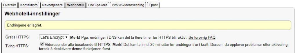 Aktivere HTTPS hos Domeneshop