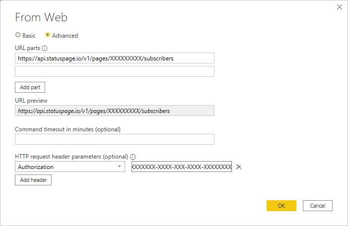 Hente data fra Statuspage sitt API med Power BI Desktop.