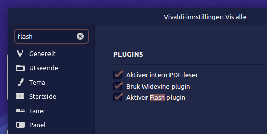 Aktiver Flash i Vivaldi nettleser.