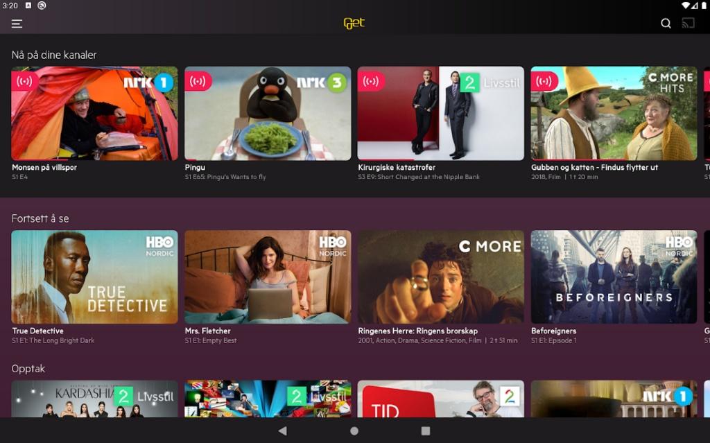 Get sin TV-app på Android nettbrett