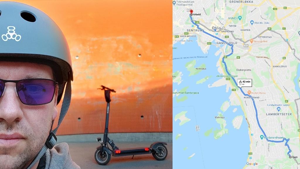På vei til jobb med elsparkesykkel