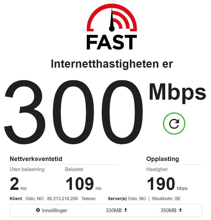 Hastighetsmåling fra Fast.com