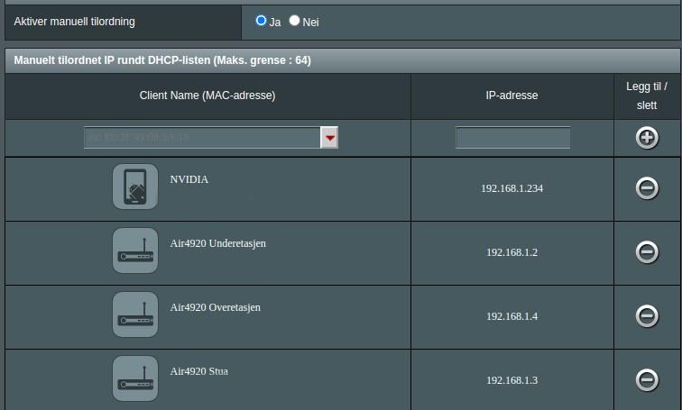 Skjermbilde fra ASUS ruter og tildeling av IP-adresser