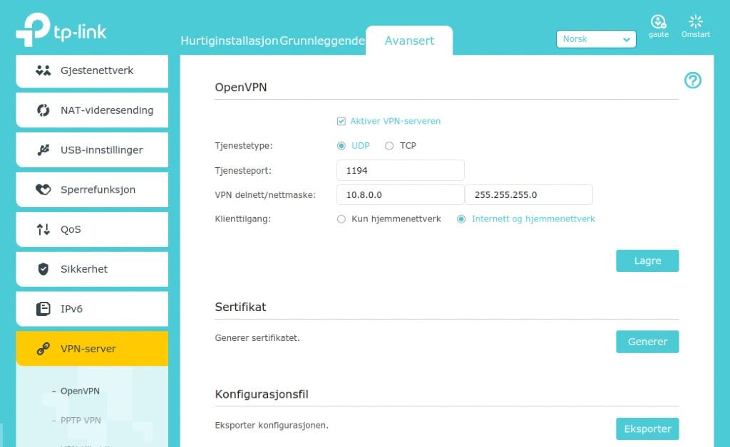 OpenVPN på TP-link