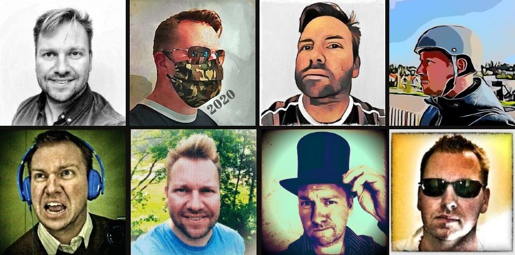 Forskjellige profilbilder av Gaute.