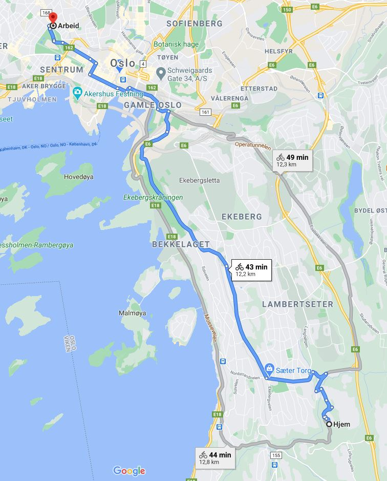Rutealternativer med sykkel fra Mortensrud til SuperOffice