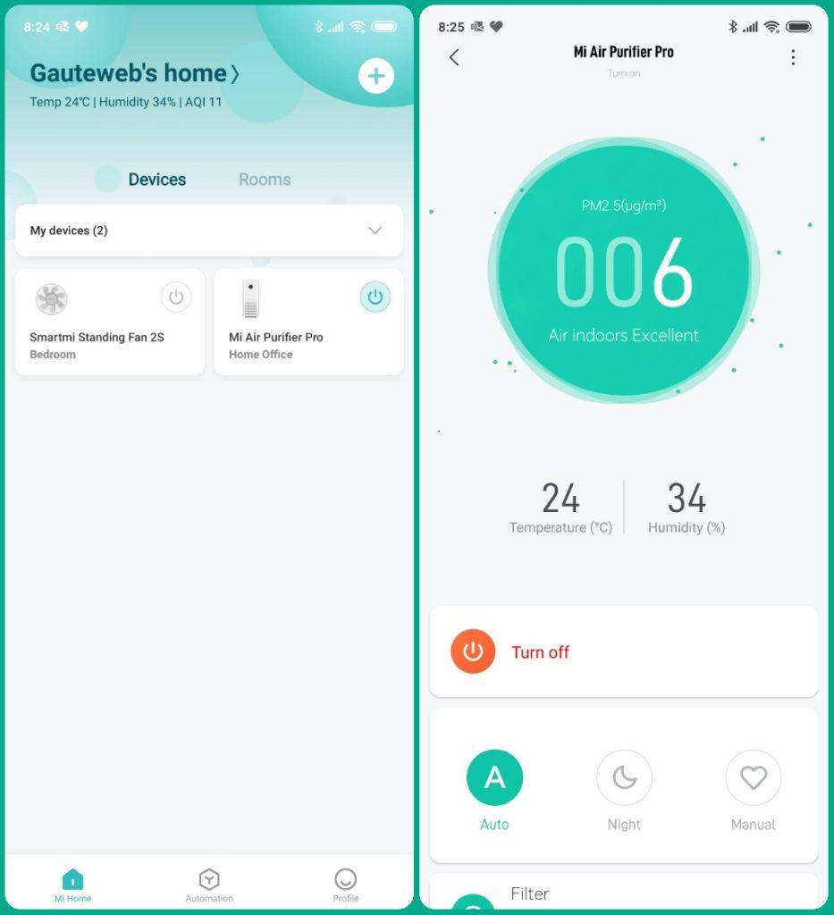 Xiaomi Home med Mi Air Purifier Pro