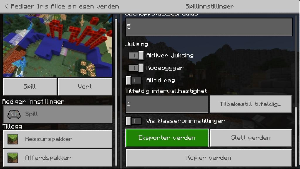 Minecraft Education Edition - Eksporter verden
